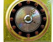 Recycled Gold Copper CIRCUIT BOARD Saturn Geek WALL Clock