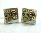 Recycled Silver Brass Circuit Board Geek Cuff Links