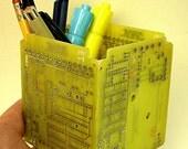 RECYCLED CIRCUIT BOARD Bright Yellow Pencil Box Geekery pb5