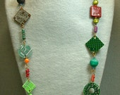 Recycled CIRCUIT BOARD Vintage Beads EYEGLASS Holder Necklace