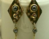 CIRCUIT BOARD Steampunk EARRINGS Vintage Hematite Bead Gold Dangle