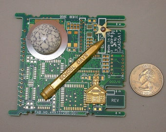 RECYCLED CIRCUIT Board MAGNET Vintage Brass School Days
