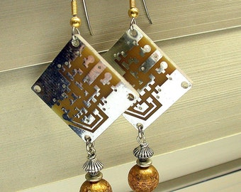 Recycled Silver Gold CIRCUIT BOARD STEAMPUNK Earrings Vintage Brass Beads