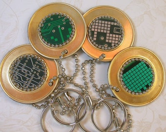 Recycled CIRCUIT BOARD GEEK Key Chain Vintage Brass  pkg1