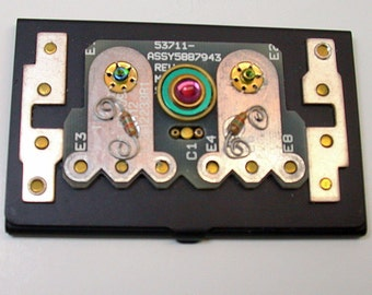 Geekery BUSINESS CARD HOLDER Black Metal Recycled Circuit Board Paperweight