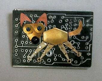 Vintage Recycled Circuit Board Black Geek POOCH BROOCH