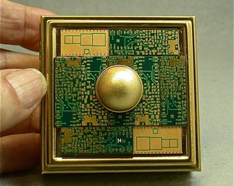 Recycled CIRCUIT BOARD 24k Gold Vintage Mirror Brass BOX Contact Lens Kit clb2