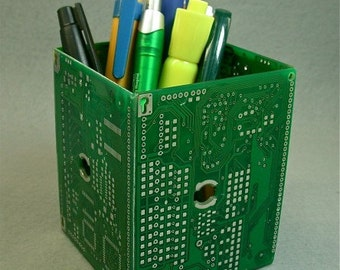 Geek PENCIL BOX Recycled Vintage Green Circuit Board pb25