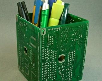 Geek PENCIL BOX Recycled Vintage Green Circuit Board pb25