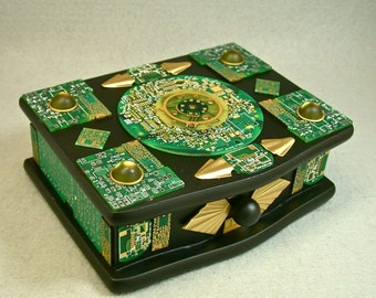 Recycled Jewelry Box Vintage 24k CIRCUIT BOARDS Black Wood