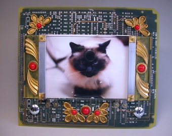 RECYCLED CIRCUIT BOARD Picture Frame Glass Cabochons Ornate Brass