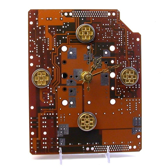 RECYCLED CIRCUIT BOARD Clock Geek Techie Willy Wonka