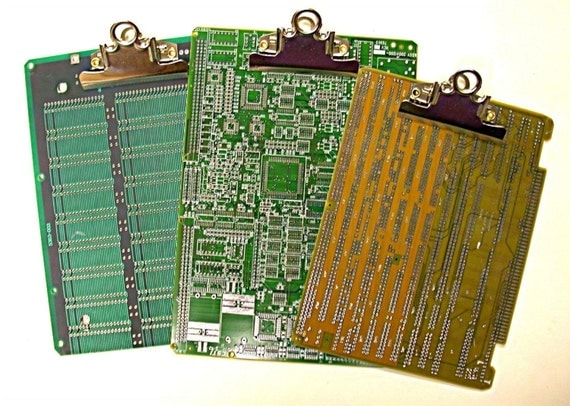 Recycled Vintage CIRCUIT BOARD Medium Geek Office CLIPBOARD