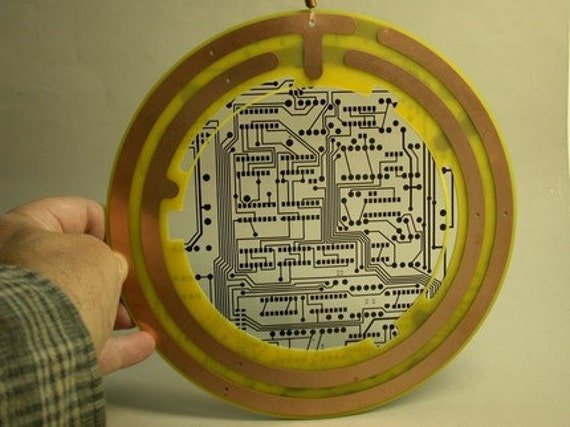 Reserve Christine TECHIE Circuit Board Huge SUN CATCHER Recycled Copper Ornament