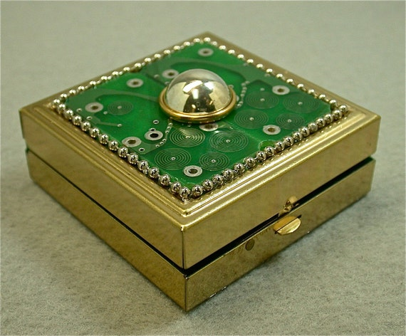 Recycled Geek CIRCUIT BOARD Mirrored Vintage Brass BOX clb1
