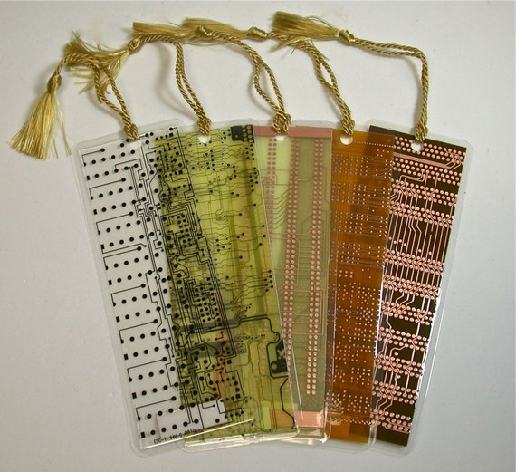 Recycled Vintage CIRCUIT BOARD Geek Bookmarks pkg 2