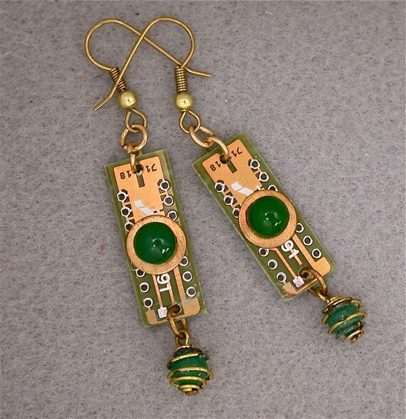 Recycled CIRCUIT BOARD Steampunk EARRINGS Vintage Japanese Beads