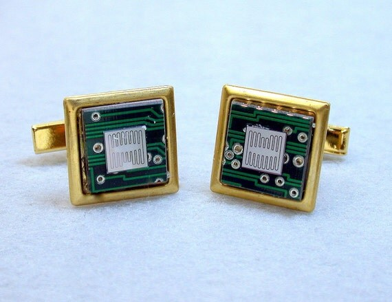 RECYCLED CIRCUIT BOARD Cuff Links Geek Computer Chip Steampunk