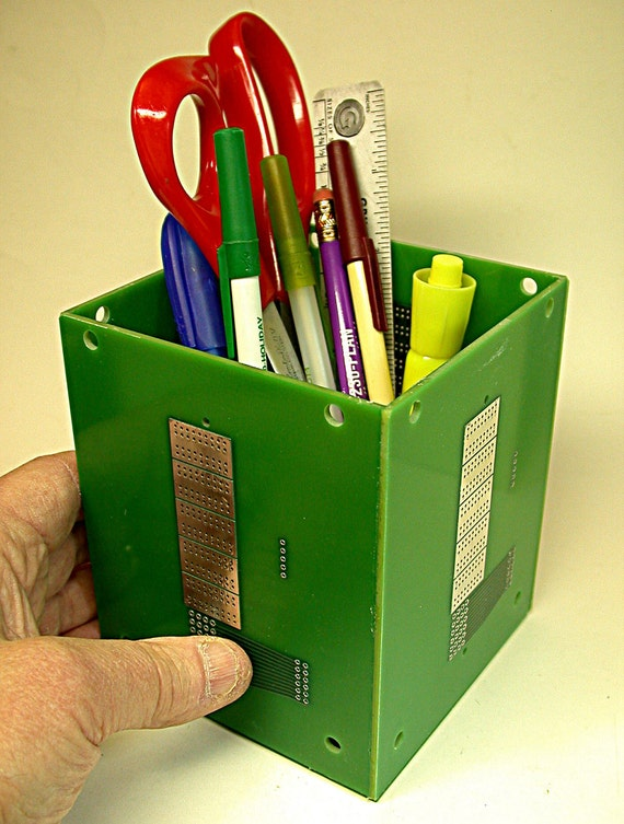 RECYCLED Circuit Board PENCIL BOX  Geekery Desk Accessory pb7