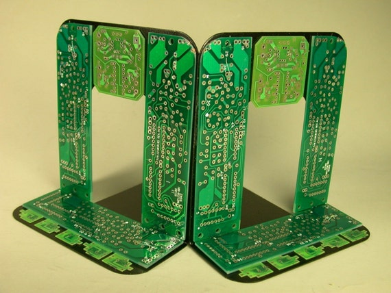 RECYCLED Computer CIRCUIT BOARD GEEKERY BOOKENDS  for  the Bookworm  for HOME or OFFICE
