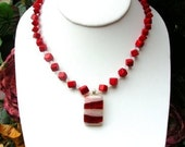 Sale  Bamboo Coral Dice and White Opal Crystal Dichroic Glass Pendant Necklace and Earring Set N-008