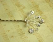Bridal / Formal Sparkling Crystal and Flower Rhinestone Hairpins