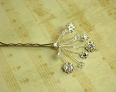 Bridal \/ Formal Sparkling Crystal and Flower Rhinestone Hairpins