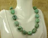 Turquoise and Swarovski Light Colorado Topaz Crystal Necklace  N-457