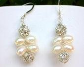 Wedding \/ Formal Freshwater Pearl and Rhinestone Ball Earrings