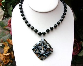 Black Lip Mosaic Shell Pendant and White Opal Crystal Necklace and Earrings Set  N-006