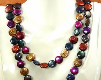 Coin Pearl Jewel Tones Long Strand Necklace N-463