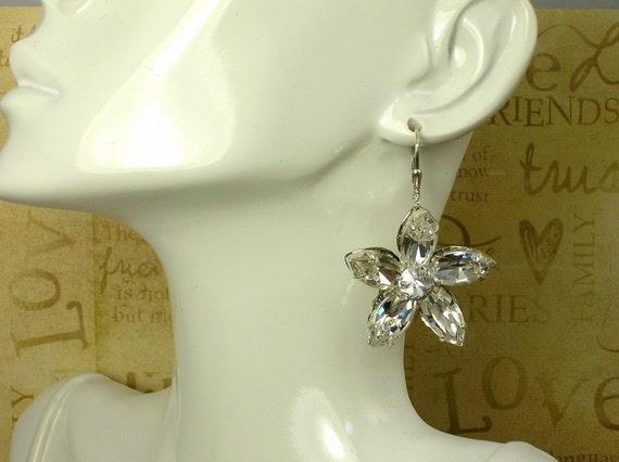 Bridal Formal Sparkling Marquis Rhinestone Flower Earrings  E-483