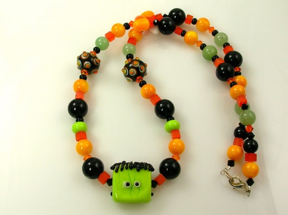 Frankenstein Candy Corn Halloween Lampwork Glass Necklace and Earrings  N-253