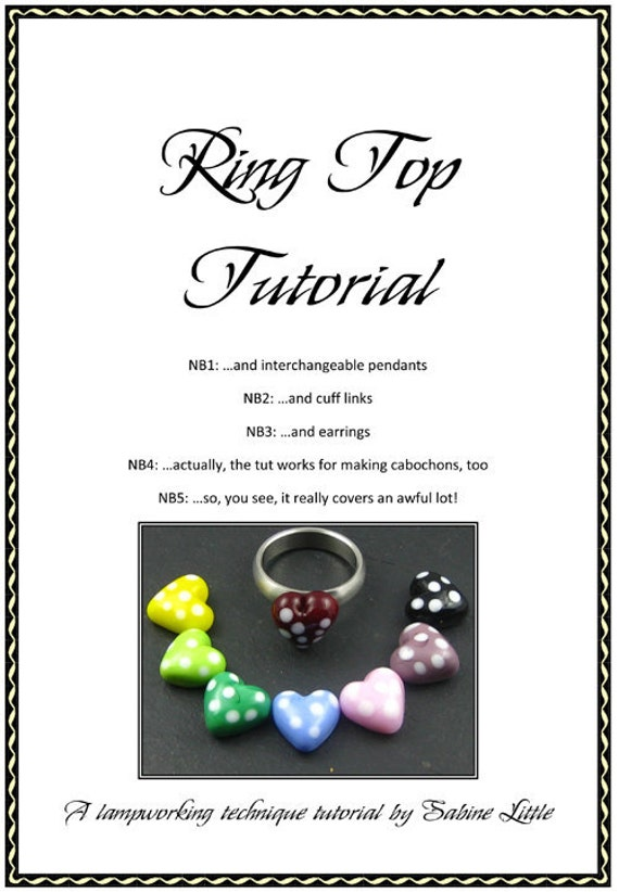 Lampwork tutorial, e-book - ring tops, interchangeable jewellery, cabochon