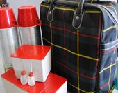 Green Plaid Picnic Lunch Set with Thermos and Sandwich keepers