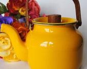 Vintage Yellow Enamel Tea Kettle Mid Century with Teak handle