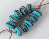 Silvered Ivory on Light Turquoise Lampwork Accent Beads - Etched