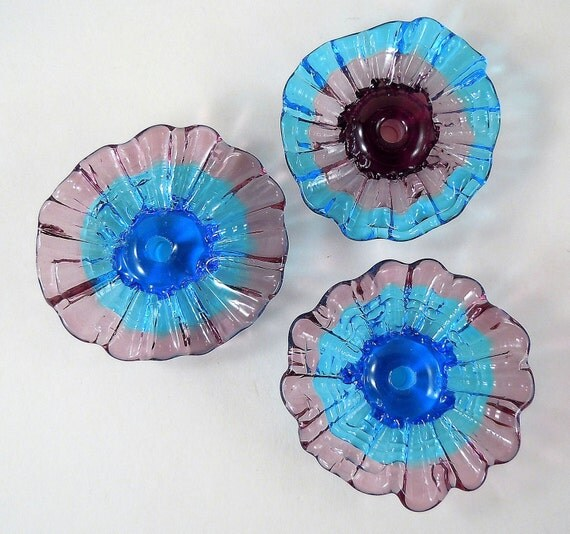Pretty Poppies - Lampwork flower Beads - Capri Blue and Purple