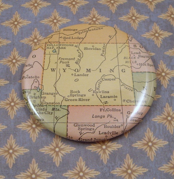 Wyoming Magnet, Vintage 1920s Atlas