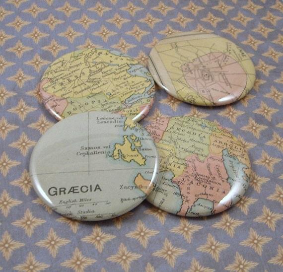 Ancient Greece Magnets, Vintage 1920s Atlas, set of 4