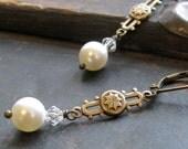 Starry Night. Victorian Pearl & Crystal Earrings
