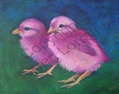 Hot Chicks Original Baby Bird Oil Pastel Drawing by Karen Lorraine