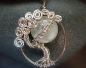 Moonstone Moon In a Tree Necklace Sterling Silver