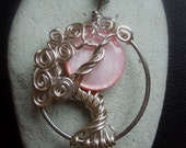 Pink Moon Mother of Pearl in a Tree Necklace Sterling Silver
