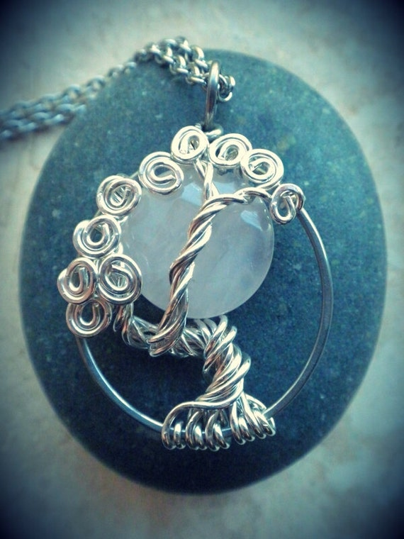 Rose Quartz Moon Sterling silver tree necklace
