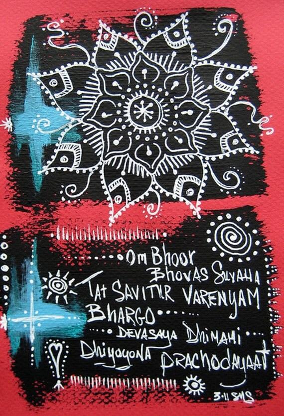 Mandala: Original Mantra Meditation Gayatri Art Matted and Ready to Frame