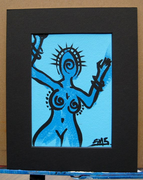 """Original Art Blue Girl: """"Whirl"""" Matted and Ready to Frame"""
