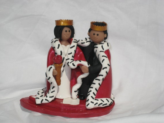 king and queen of hearts wedding cake topper