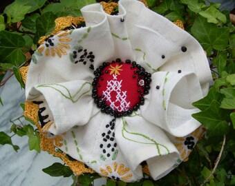 Fabric Flower Brooch Pin