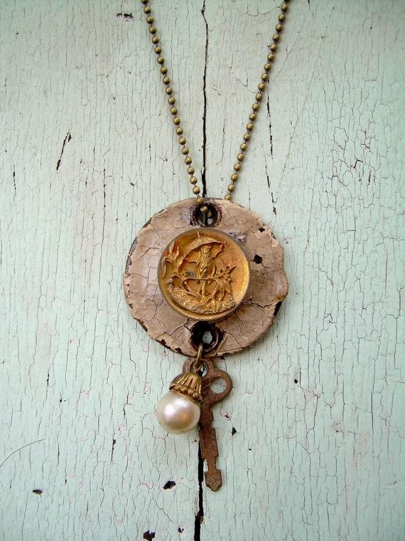 Repurposed Necklace - Umbrella Bird
